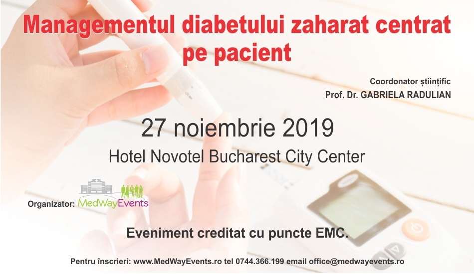 """Continuă înscrierile la Conferința medicală """"Managementul diabetului zaharat centrat pe pacient"""" – ediție inaugurală"""