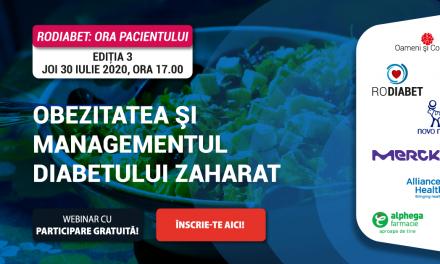 """""""Obezitatea și Diabetul"""", tema celei mai noi ediții RoDiabet """"Ora Pacientului"""" din 30 iulie 2020"""
