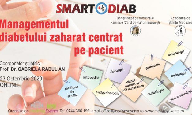 """Conferința """"Managementul diabetului zaharat centrat pe pacient"""" se va desfășura online pe 23 octombrie 2020"""