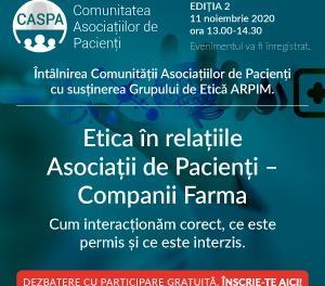 Discuții animate pe tema Eticii în relațiile cu companiile farma la cea de-a doua întâlnire a Comunității Asociațiilor de Pacienți